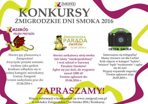 KONKURSY - Żmigrodzkie Dni Smoka 2016